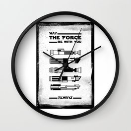 Black Brush - Star May the force be with you always Wars Wall Clock