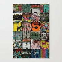 grafitti Canvas Prints featuring grafitti collage by laika in cosmos