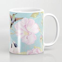 Pastel Teal Vintage Roses and Hummingbird Pattern Coffee Mug