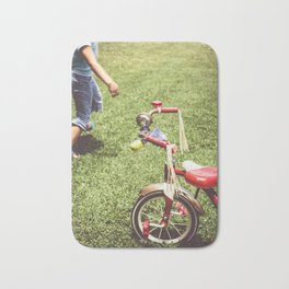 girl and old tricycle,vintage picture style Bath Mat