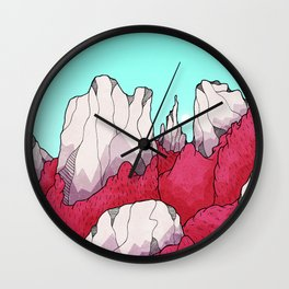 Red forest hills Wall Clock