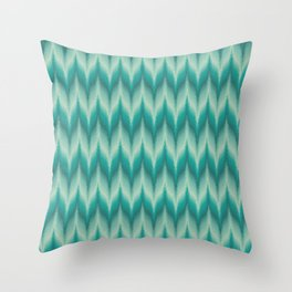 Bargello Pattern in Teal and Turquoise Throw Pillow