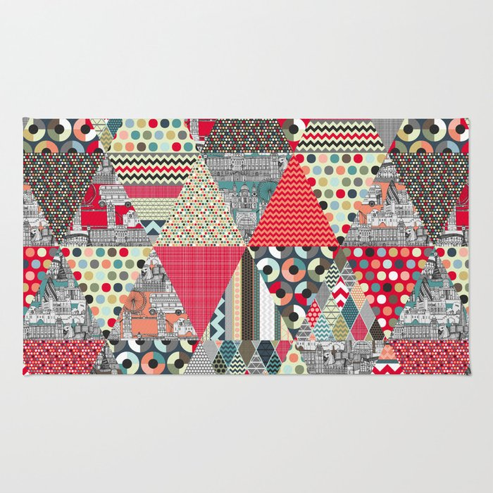 London triangle quilt Rug