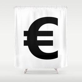 Euro Sign (Black & White) Shower Curtain