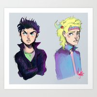 jjba Art Prints featuring JJBA :: Joseph n Caesar by Magnta