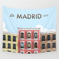 madrid Wall Tapestries featuring Madrid by Sara Enriquez