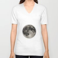 minimalist V-neck T-shirts featuring The Moon  [Sans Type] by Heather Landis