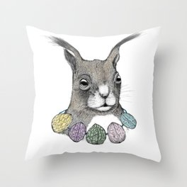 Squirrel loves color Throw Pillow