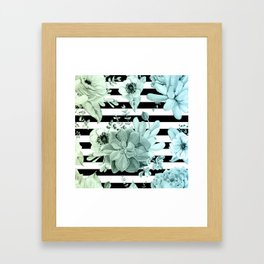 Simply Succulent Garden Striped in Turquoise Green Blue Gradient Framed Art Print