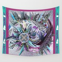 manchester Wall Tapestries featuring Manchester whirl by Sabah