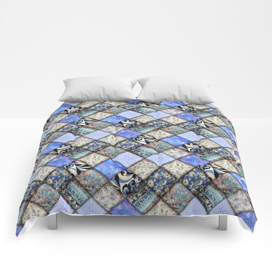 Faux Patchwork Quilting - Blues Comforters
