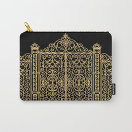 French Wrought Iron Gate | Louis XV Style | Ornate Ironwork | Black and Gold | Carry-All Pouch