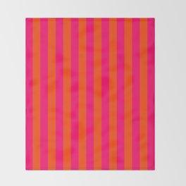 Super Bright Neon Pink and Orange Vertical Beach Hut Stripes Throw Blanket