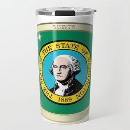 Washington State Flag Oval Button Travel Mug