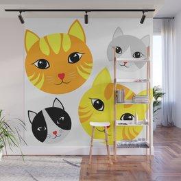 Cat Faces Wall Mural