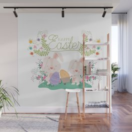 Happy Easter Baby Bunnies, Eggs and Pastel Flowers 2 Wall Mural