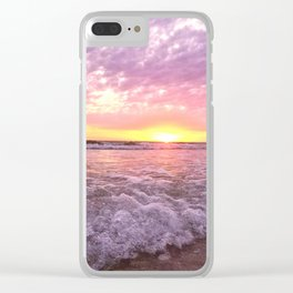 a tropical sunset Clear iPhone Case