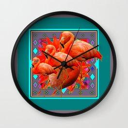 TEAL RED FLOWERS ART DECO SAFFRON FLAMINGOS ART Wall Clock