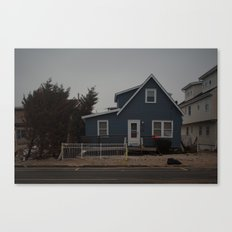 Blue Home, Orange Sticker, After Sandy Canvas Print
