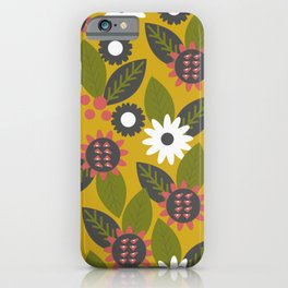 Mustard floral graden iPhone Case