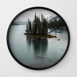 Landscape Maligne Lake Vertical View Wall Clock