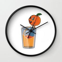 Freshly Squeezed Orange Juice Wall Clock