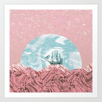 The old marble ship - coral & turquoise colors Art Print
