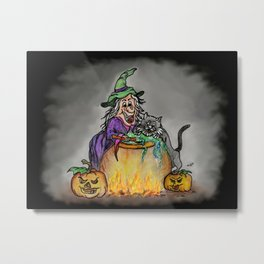 Witch and cat, Happy Halloween! 2 Metal Print