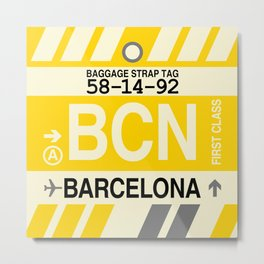 BCN Barcelona • Airport Code and Vintage Baggage Tag Design Metal Print