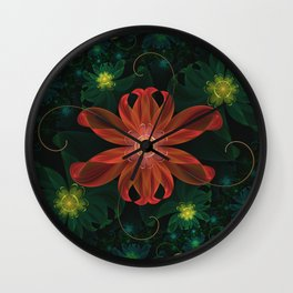 Beautiful Shining Red-Green Fractal Passion Flower Wall Clock
