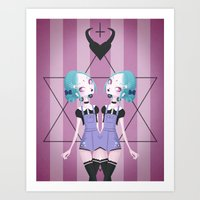 goth Art Prints featuring Pastel Goth by Paz Huichaman