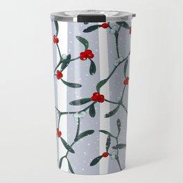 Elegant Mistletoe Holiday Pattern Travel Mug
