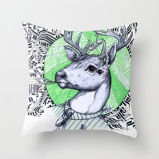 Deer in Dress Code  Throw Pillow