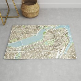 Boston Sepia Watercolor Map Rug
