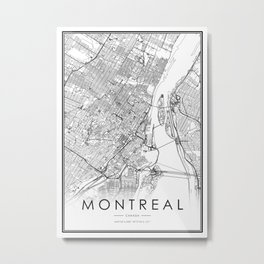 Montreal City Map Canada White and Black Metal Print