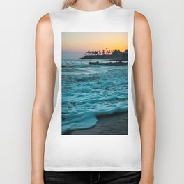 Wavy Waters In California In The Summer Biker Tank