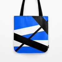 bands Tote Bags featuring Bands 1 Retro stripes by Brian Raggatt