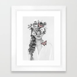 woman with flowers and butterflies 9a Framed Art Print