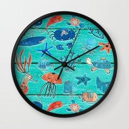 Blue & Orange Under the Sea Wall Clock
