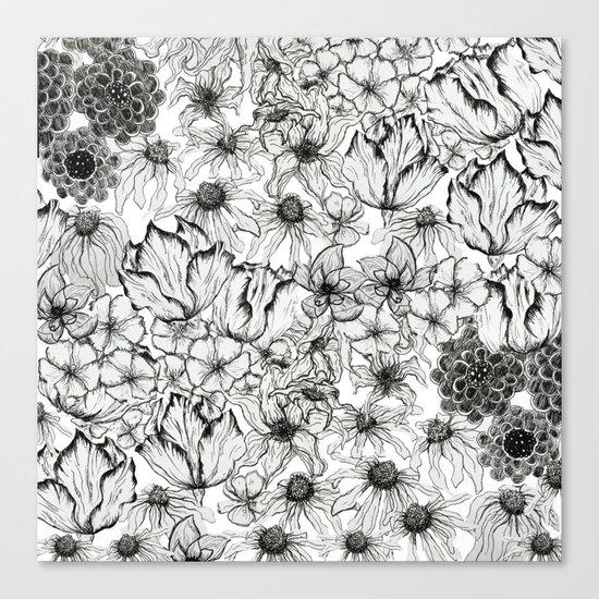 Ink Flowers Canvas Print