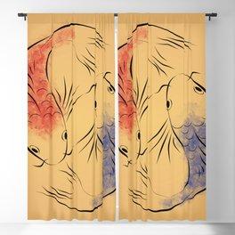 Chinese carp fish - Parchment Blackout Curtain