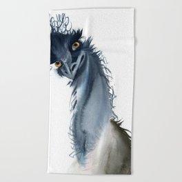 Funny ostrich Beach Towel