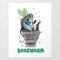 bookworm Art Prints featuring Bookworm by TheVioletWall
