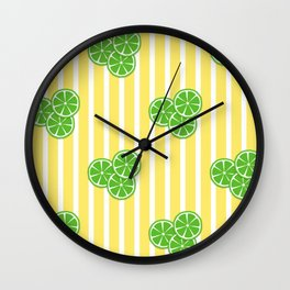 Lime Slices on Yellow and White Stripes Wall Clock