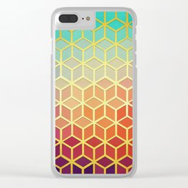 Colorful and golden stained glass Clear iPhone Case