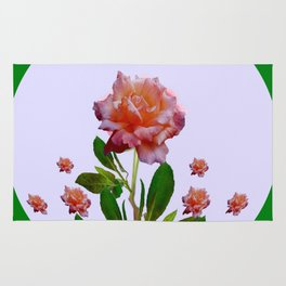 GREEN COLOR   CORAL  PINK ROSES BOTANICAL ART Rug
