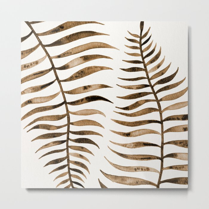 Palm Leaf – Sepia Metal Print