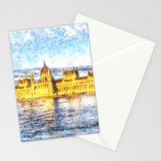Budapest River Danube Sunset Art Stationery Cards