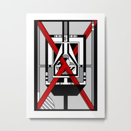 Red X  - Abstract Geometric Non-Figurative Art Metal Print