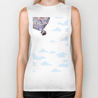 pixar Biker Tanks featuring disney pixar up.. balloons and sky with house by studiomarshallarts